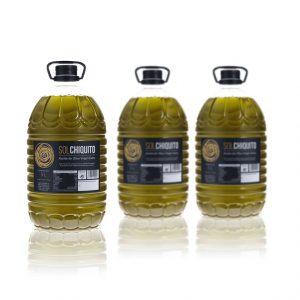 Garrafas de aceite de oliva virgen extra Sol Chiquito