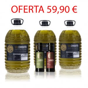 Oferta de 3 garrafas de 5 litros con regalo de 2 botellas de AOVE Sol Chiquiito de cosecha temprana