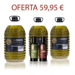 AOVE Sol Chiquito en garrafa de 5 litros y AOVE Sol Chiquito de cosecha temprana picual y royal