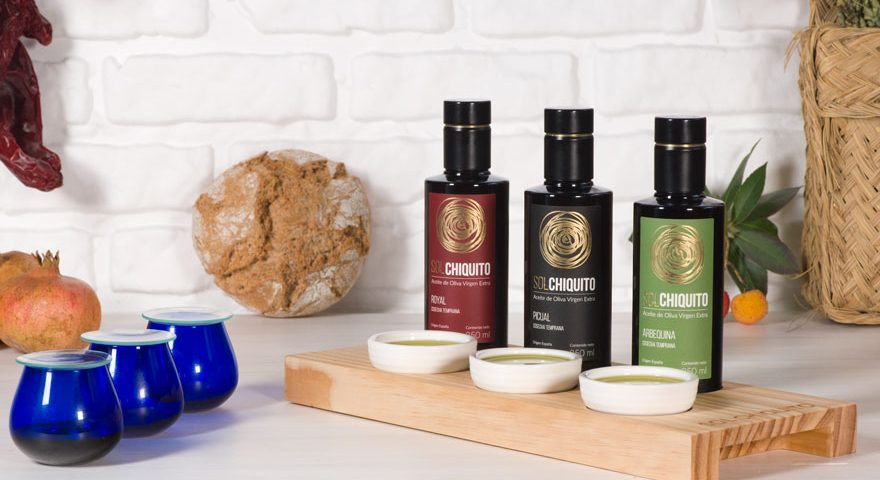 Sampling and tasting table for sol chiquito extra virgin olive oil