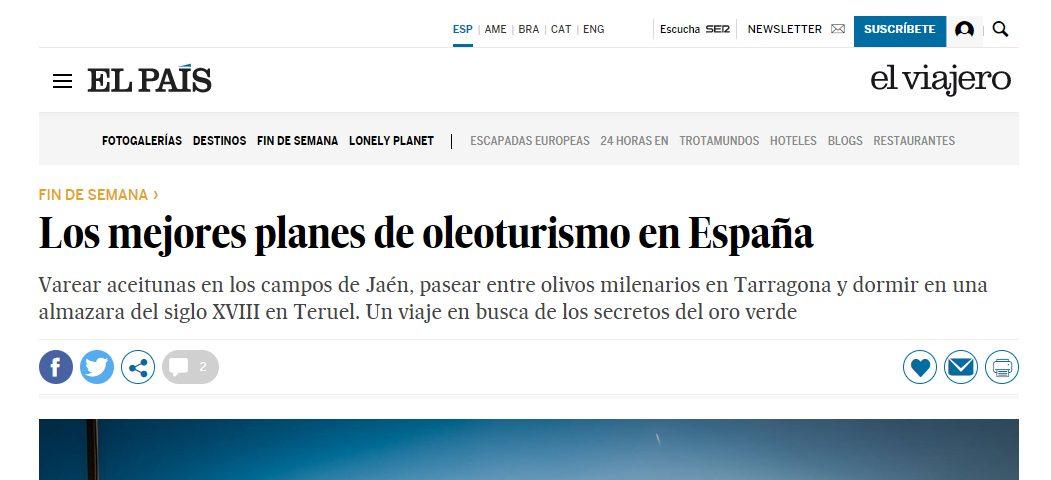 Artículo del periódico El País sobre oleoturismo