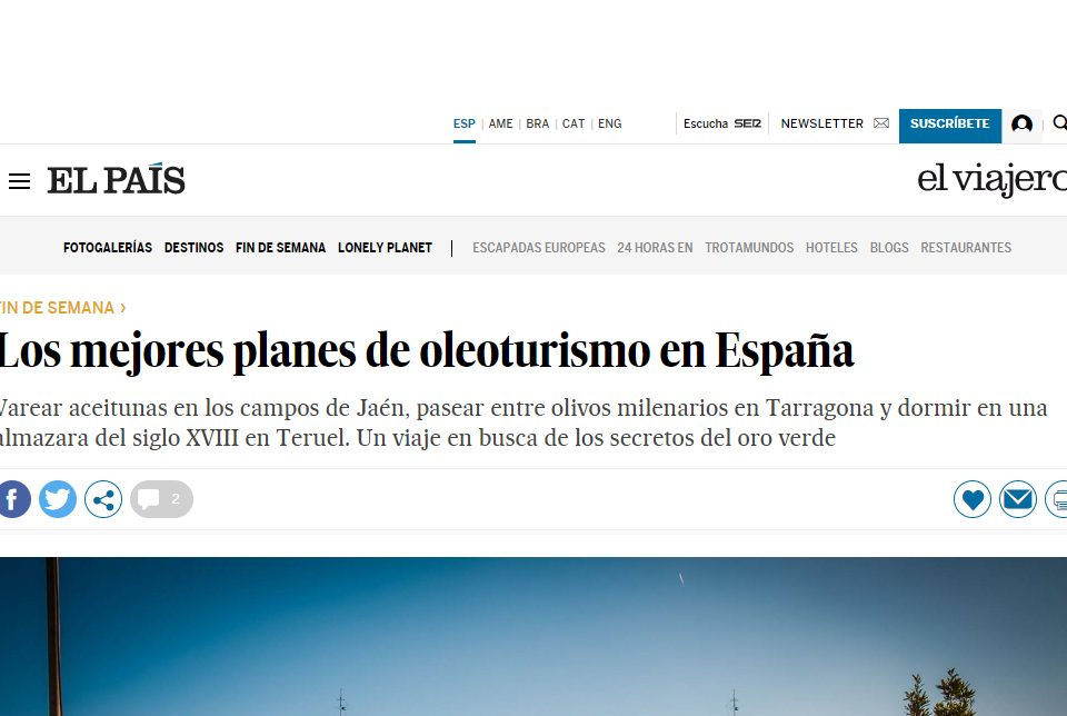 El País newspaper article on oleotourism