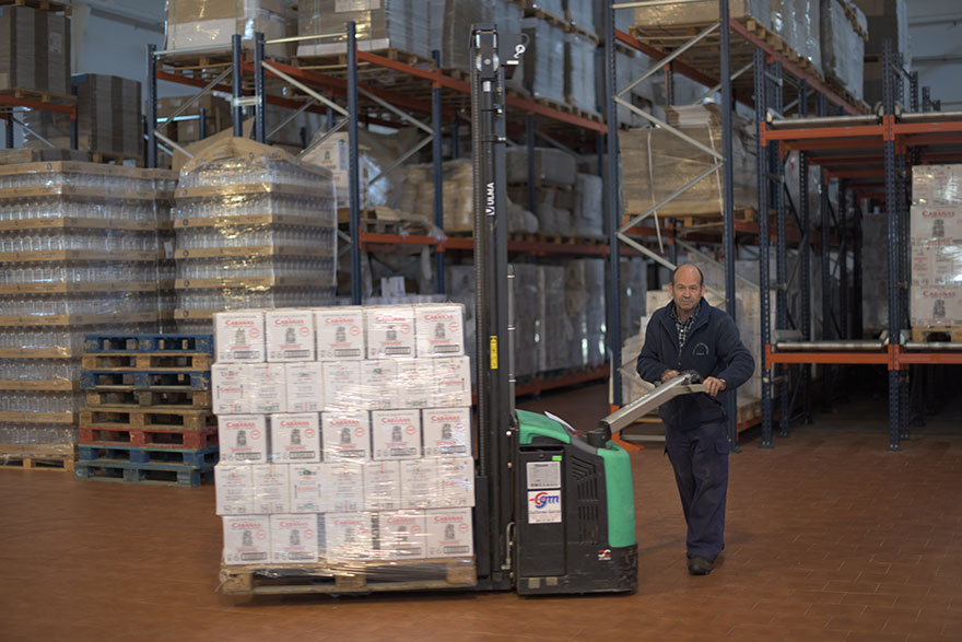 Warehouse of extra virgin olive oil
