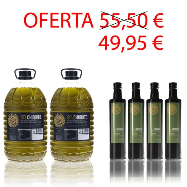 Oferta de aceite de oliva virgen extra sol chiquito campaña y cosecha temprana arbequina