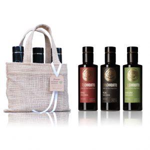 Bolsa regalo de aceite de oliva virgen extra Sol Chiquito de cosecha temprana picual, royal y arbequina