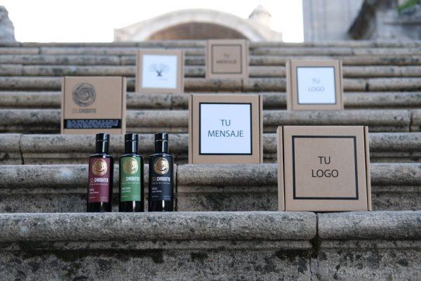 Caja de regalo personalizable de aceite de oliva virgen extra sol chiquito de cosecha temprana picual, royal y arbequina
