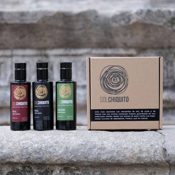 Caja de regalo de aceite de oliva virgen extra sol chiquito de cosecha temprana picual, royal y arbequina