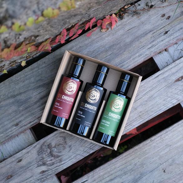 Caja regalo de aceite de oliva virgen extra sol chiquito de cosecha temprana royal, picual y arbequina